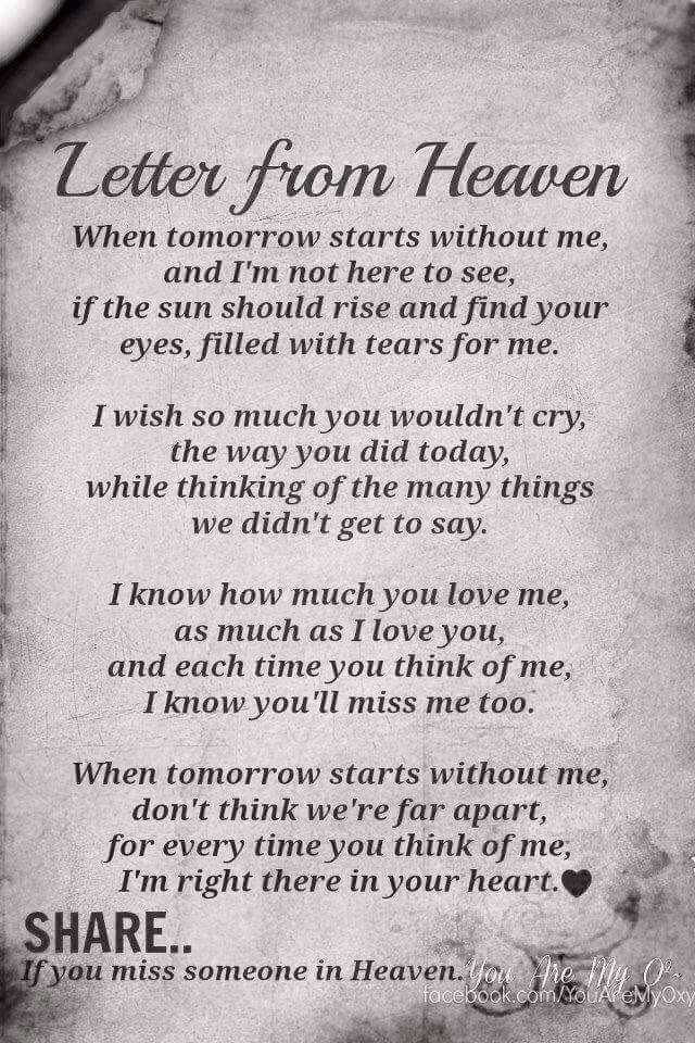 Poem Letter from Heaven